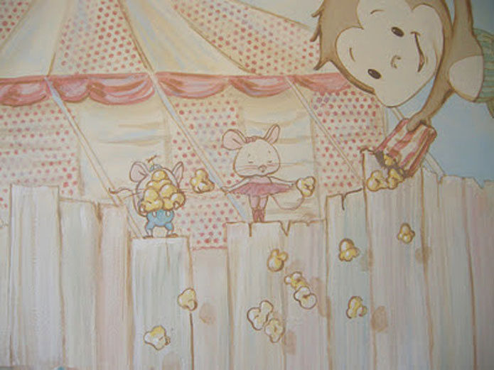 Painting CIRCUS MURAL - Detail image - Mice with Popcorn by Cindy Scaife