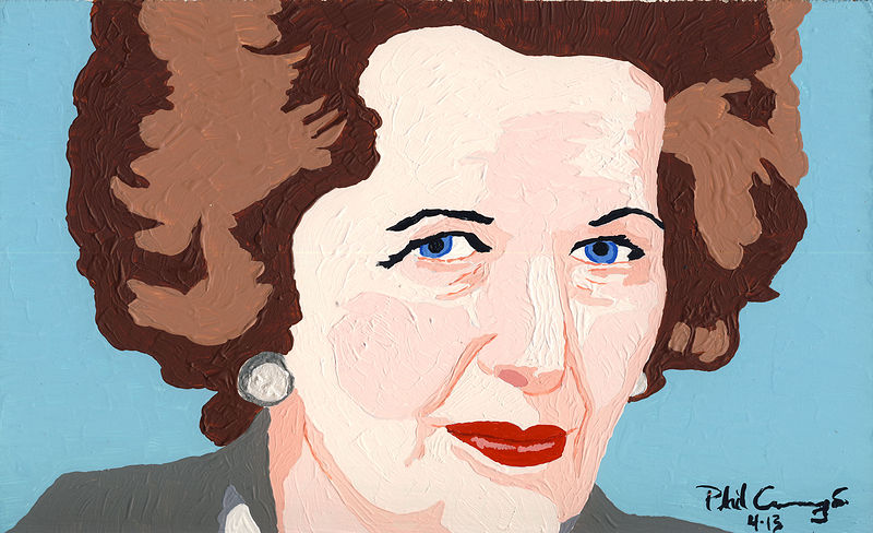 Acrylic painting Margaret Thatcher by Phil Cummings