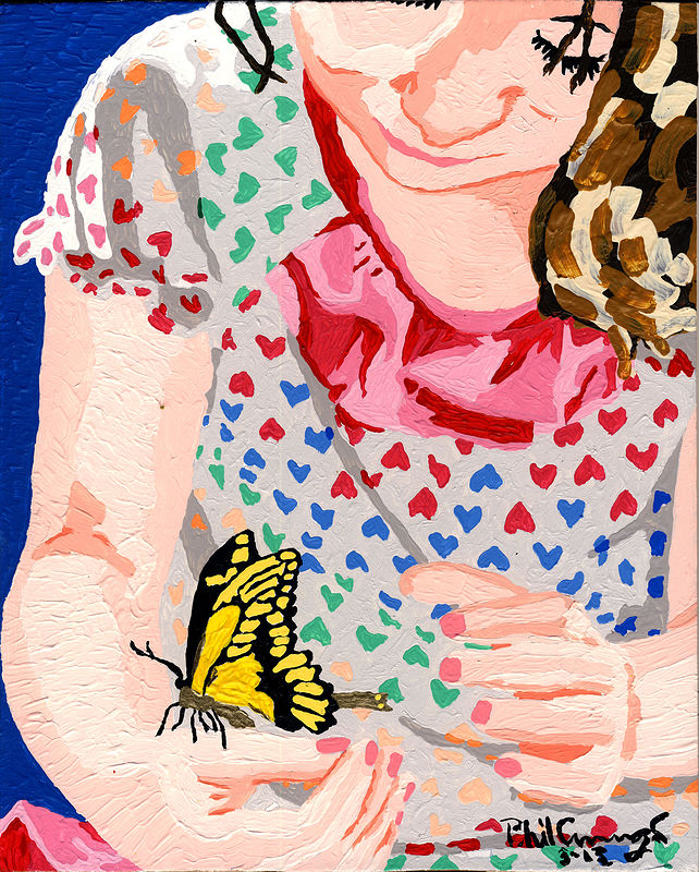 Acrylic painting Amanda Butterfly-02 by Phil Cummings