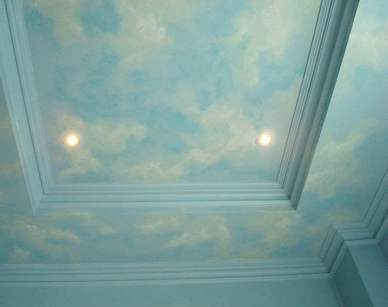 Painting Beach Mural - Ceiling by Cindy Scaife