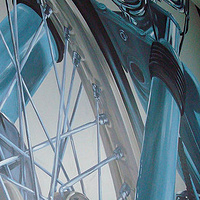 Painting Motorcycle Mural - Detail view by Cindy Scaife