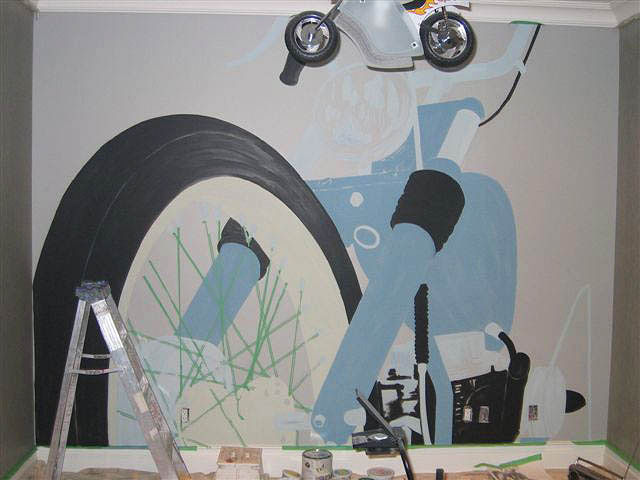 Painting Motorcycle Mural - Progress Image 2 by Cindy Scaife