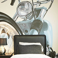 Motorcycle Mural - Furnished Room by Cindy Scaife