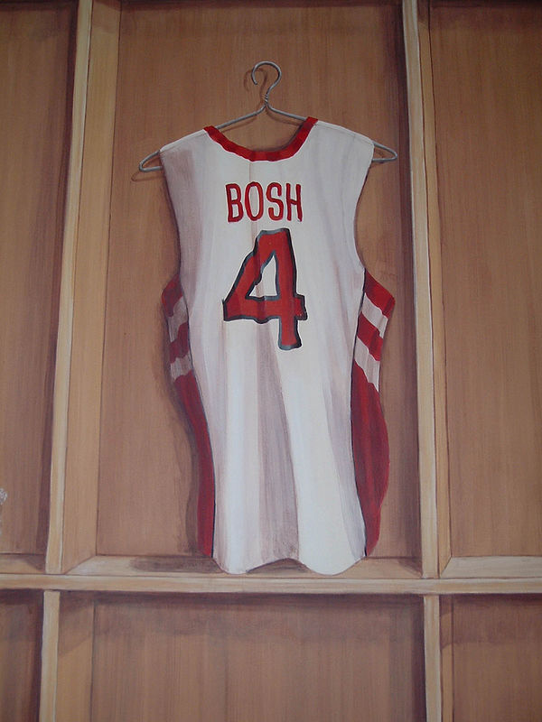 Painting Locker Room Mural - Bosch Jersey - Detail View by Cindy Scaife