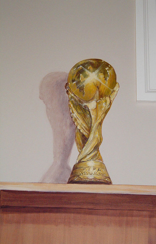 Painting Locker Room Mural - FIFA Cup - Detail View by Cindy Scaife
