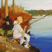 Oil painting Lady Fishing by Noah Verrier