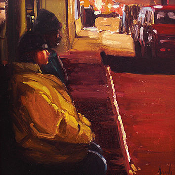 Oil painting Bench on Tennessee Street by Noah Verrier