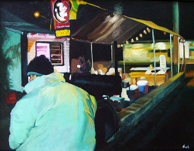 Oil painting BBQ Man by Noah Verrier