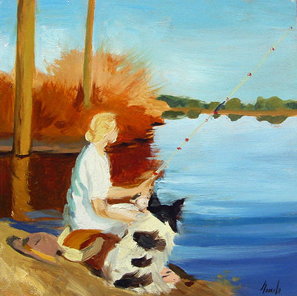 Oil painting Lady Fishing (revisited II) by Noah Verrier