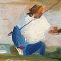 Oil painting Lady Fishing (revisited)  by Noah Verrier