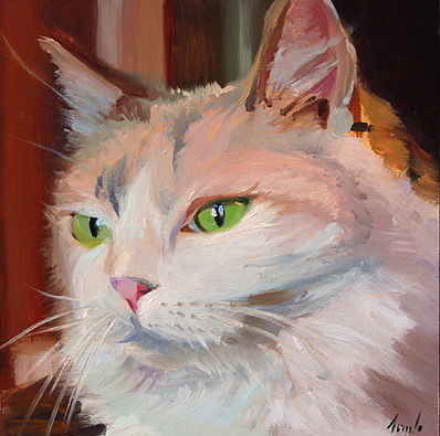 Oil painting Green Eyes by Noah Verrier
