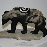 """Beaded Bear I"" 2010. Cotton, embroidery thread, beads and stone. 30 x 18 x 12 cm by Belinda Harrow"