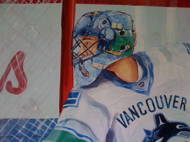 Painting Hockey Mural - Goalie Detail Image by Cindy Scaife