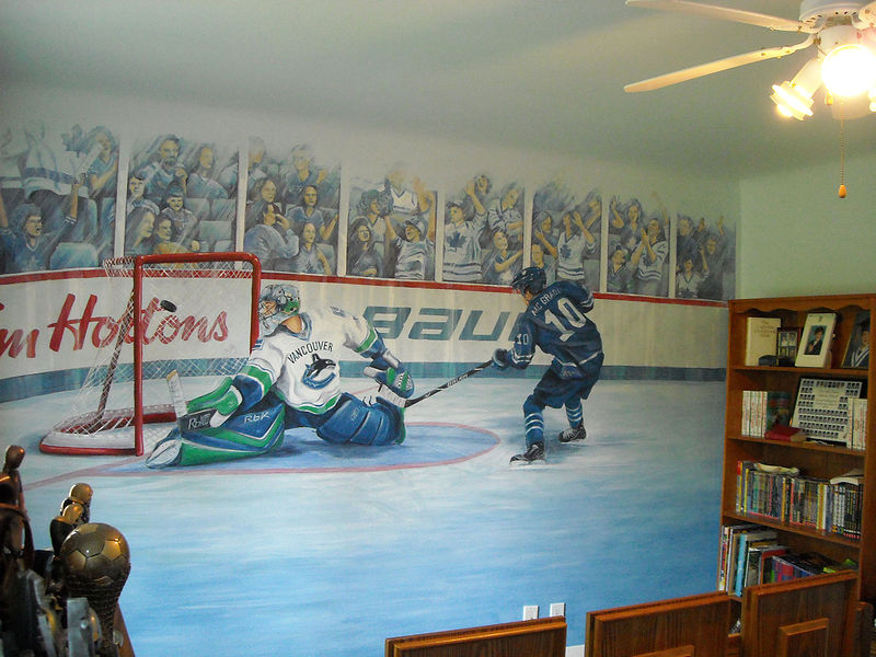 Painting Hockey Mural -  Full Room Image by Cindy Scaife