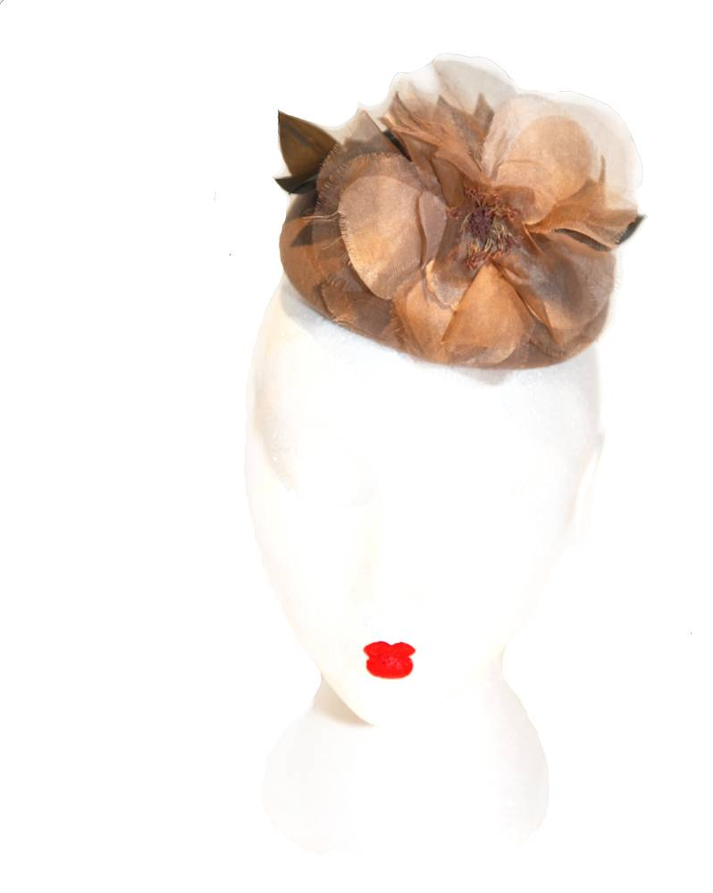 Beige silk flower cocktail hat by Fiona Menzies