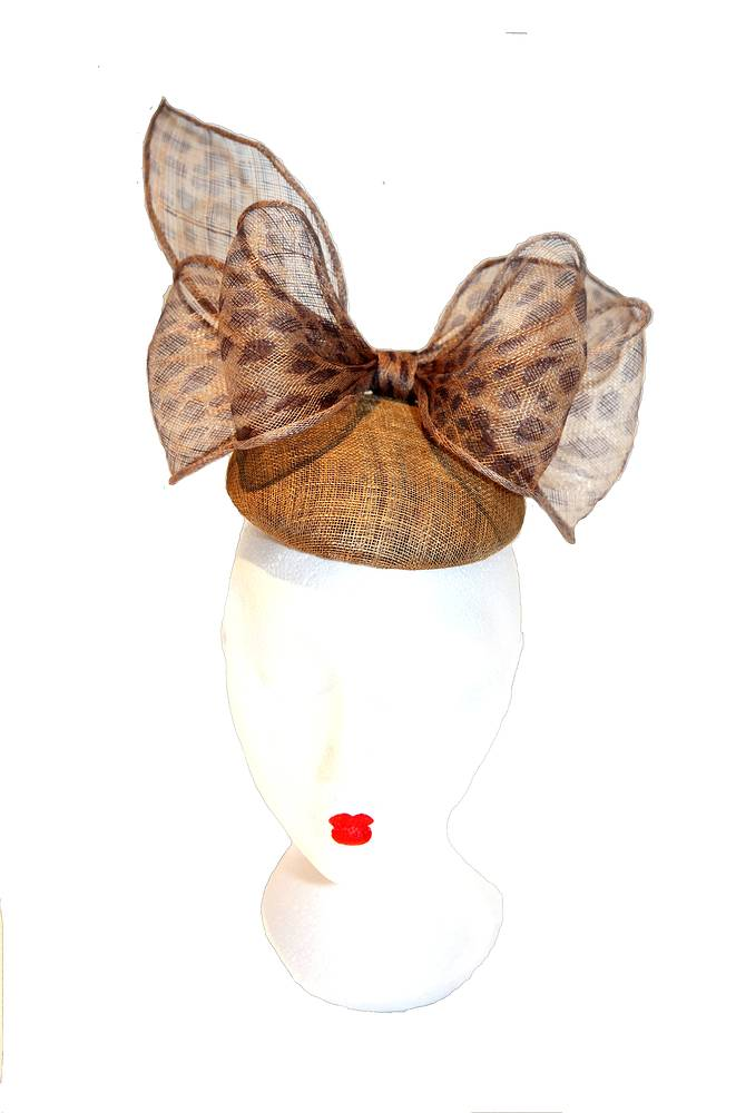 Gold and cheetah cocktail hat with bow by Fiona Menzies
