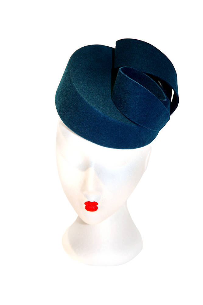 Teal blue pillbox hat with felt curls by Fiona Menzies