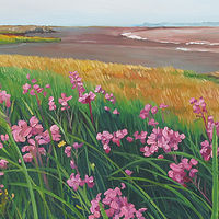 Oil painting Where Meadow Meets the Shore by Michael McEwing