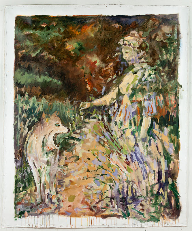 Acrylic painting Emma and a Coyote by Edie Marshall