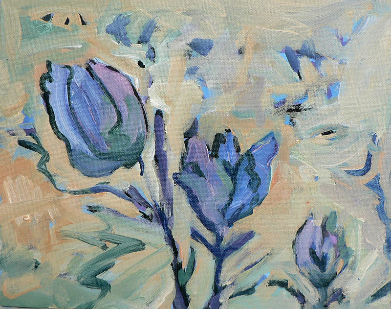 Acrylic painting Little Gem Series by Edie Marshall