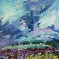 Acrylic painting Purple Storm by Edie Marshall