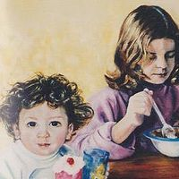 Oil painting The Simone Children by Judith  Elsasser
