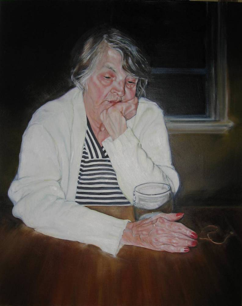 Oil painting Sad Mum by Judith  Elsasser