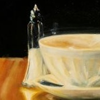 Oil painting Portrait of a cafe laite by Judith  Elsasser