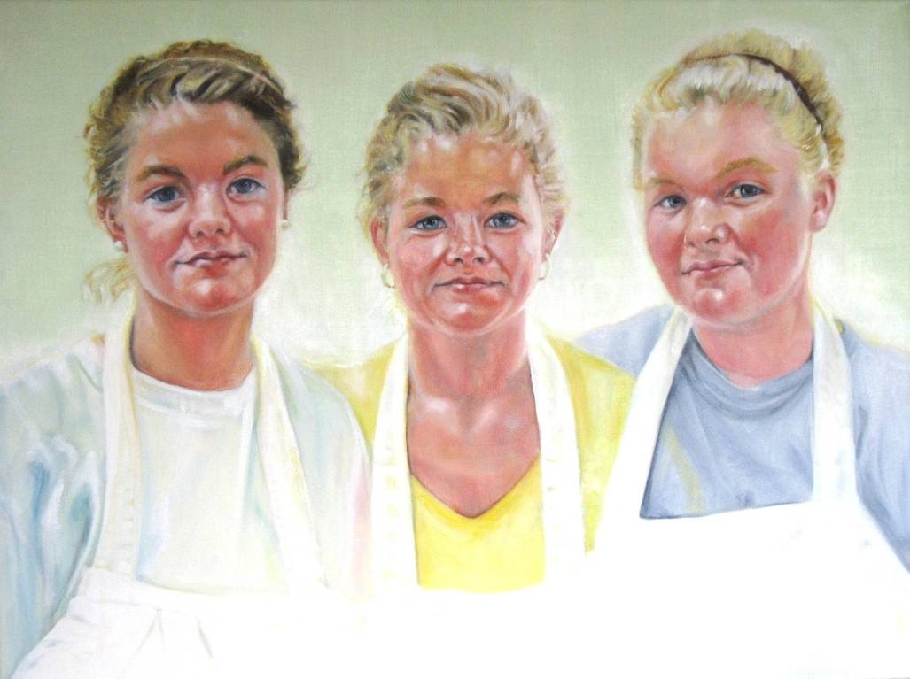 Oil painting Bianca, Marja, Raquel Vandermeulen, Green Gate Farm by Judith  Elsasser