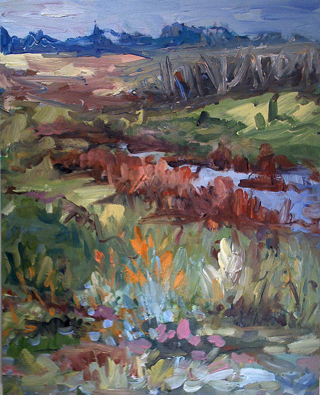 Acrylic painting Coulee by Edie Marshall