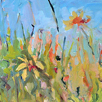 Acrylic painting Grass Whispering by Edie Marshall