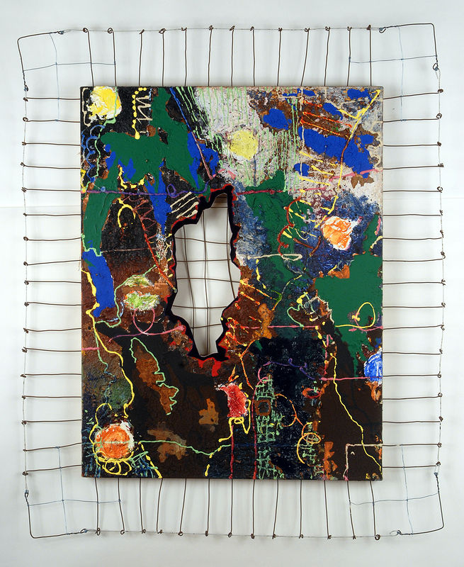 "Change of Mind: Acrylic on canvas with red dirt and cut-out velvet patch, 34"" x 26"" + 6"" wire frame woven through wooden stretcher, 2001 by Judy Southerland"