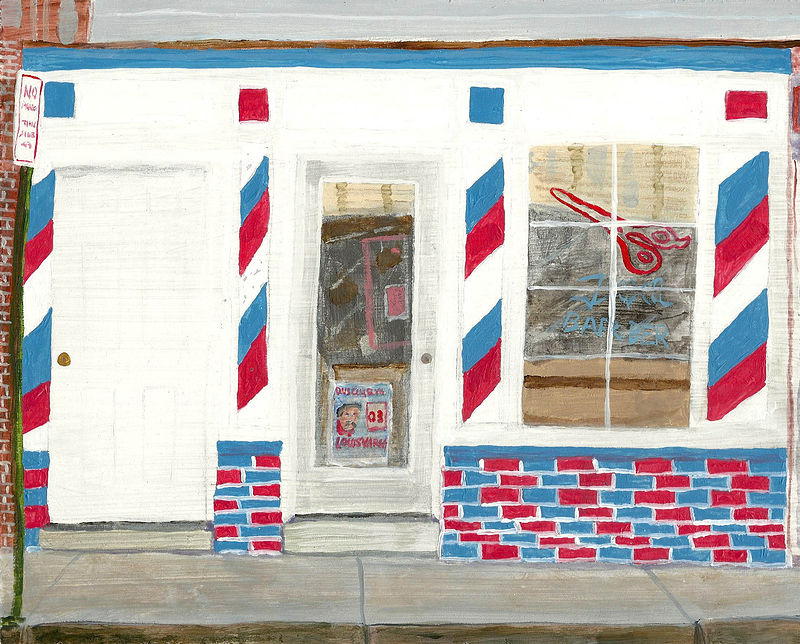 Acrylic painting vargas barber by anthony Ziegler