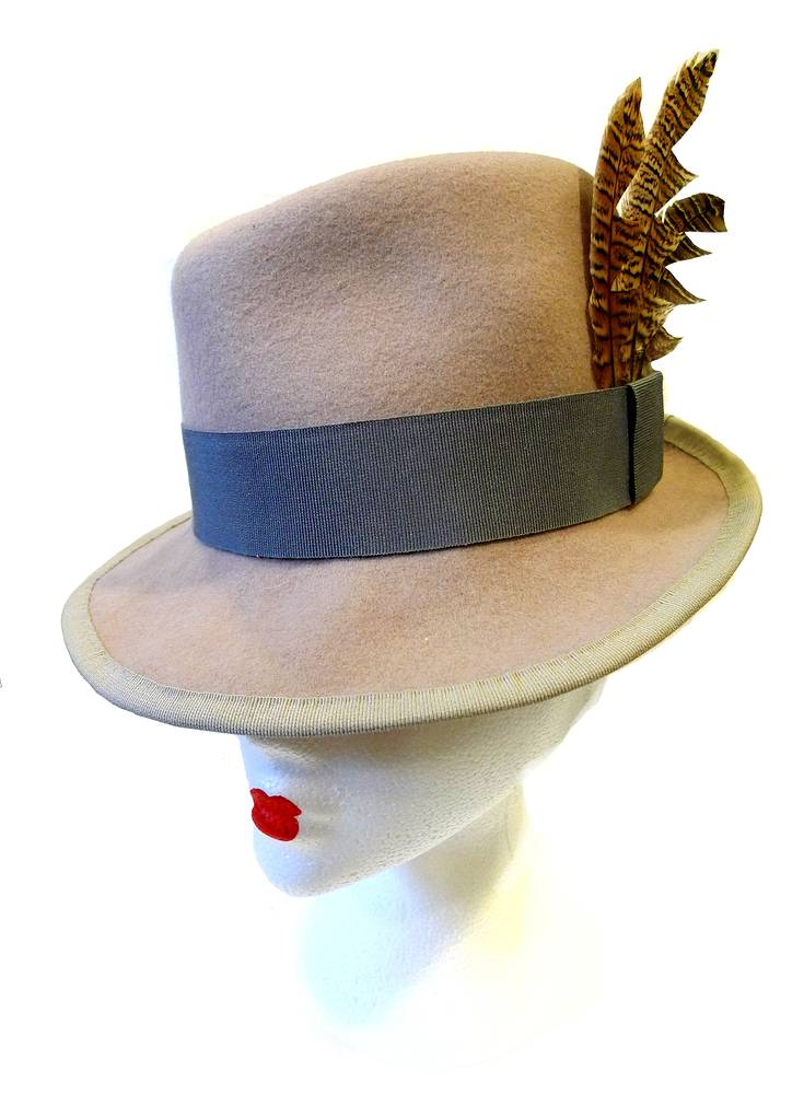 Blush trilby with grey trim and feathers by Fiona Menzies