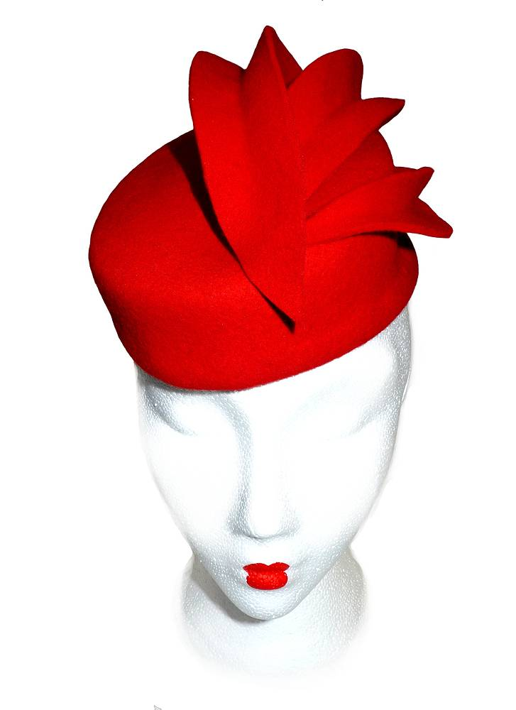Red felt cocktail hat by Fiona Menzies