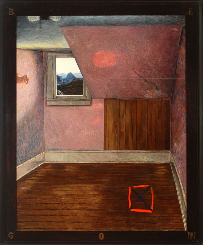 "Begin/End, oil on linen, glass, painted frame, 60"" x 46"", 1982 by Judy Southerland"
