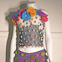 Flowered Bustier/ Purple Beaded Leaves Pants by David Faulk