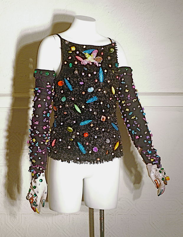 Black Fuzzy Top, Purple Glitter Sleeves by David Faulk