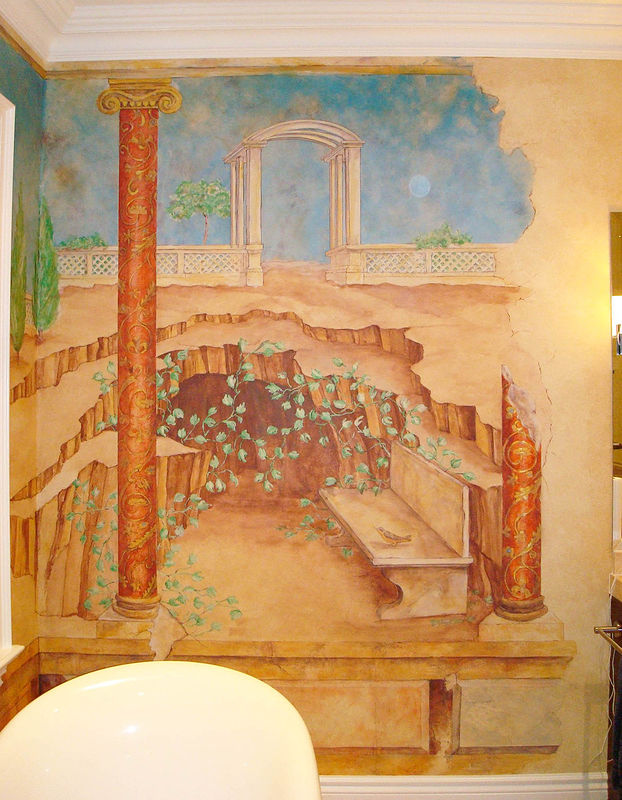 Painting POMPEII MURAL - Right Side - Master Bathroom by Cindy Scaife