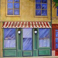 Painting PARIS STREET SCENE - Full View by Cindy Scaife