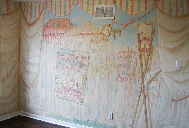 Painting CIRCUS MURAL - Full View Wall 2 by Cindy Scaife