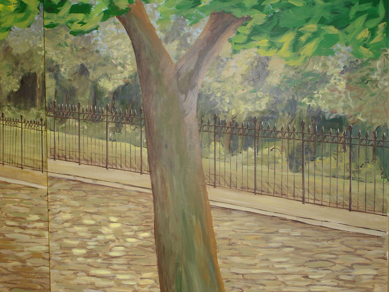 Painting PARIS STREET SCENE - Detail View Tree Trunk by Cindy Scaife