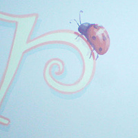 Painting Large scale Flower mural - Girl's room - Detail Ladybug on letter by Cindy Scaife