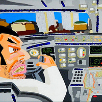 Acrylic painting ATTACK! (The cockpit a second before they hit the tower) by Phil Cummings