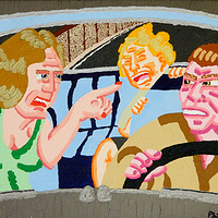 Acrylic painting Freeway Argument by Phil Cummings