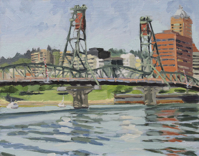 Oil painting Hawthorne Sunny Morning by Shawn Demarest