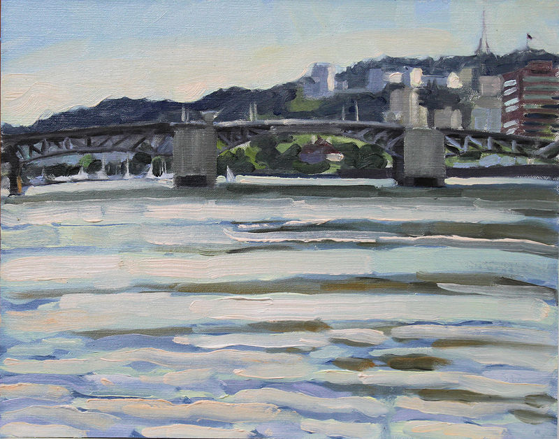 Oil painting Morrison Bridge with Sailboat by Shawn Demarest