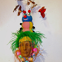 Birds And Bug Wig, Easter Egg Blaklava by David Faulk