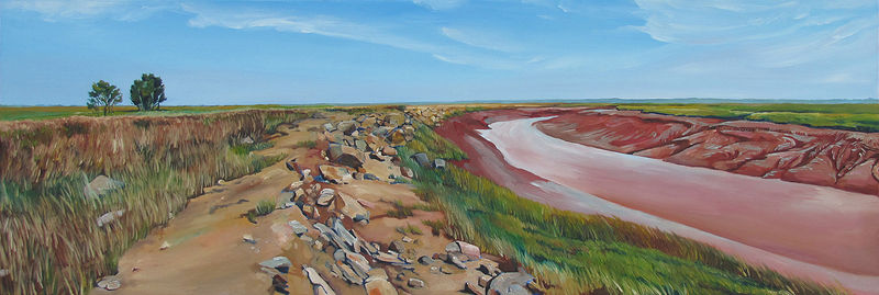 Oil painting River Running Through the Marsh by Michael McEwing