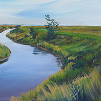 Oil painting A View from High Marsh Road by Michael McEwing